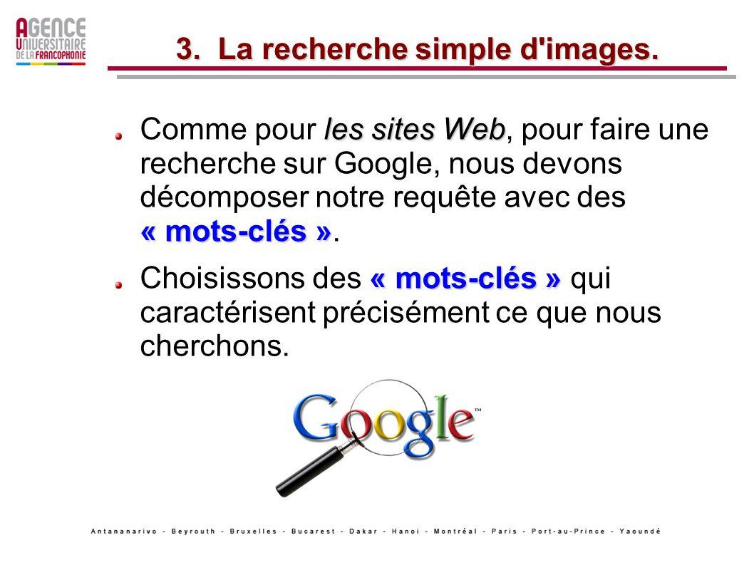 les sites Web « mots-clés » Comme pour les sites Web, pour faire une recherche sur Google, nous devons décomposer notre requête avec des « mots-clés ».