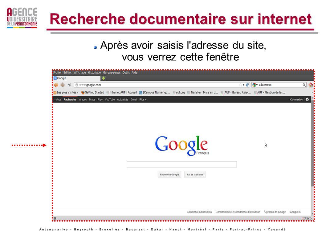 1. La recherche simple de site Web. Recherche documentaire sur internet