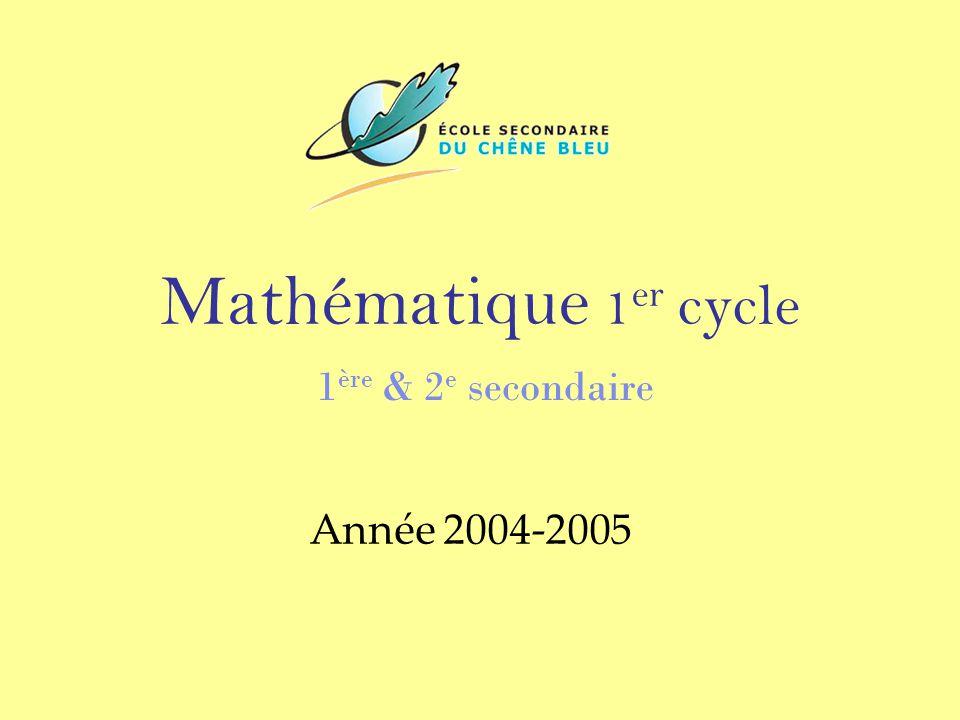Mathématique 1 er cycle 1 ère & 2 e secondaire Année 2004-2005