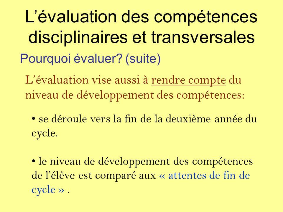 Lévaluation vise aussi à rendre compte du niveau de développement des compétences: se déroule vers la fin de la deuxième année du cycle.