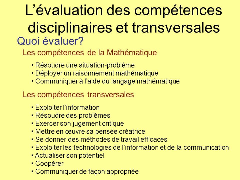 Quoi évaluer? Les compétences de la Mathématique Les compétences transversales Résoudre une situation-problème Déployer un raisonnement mathématique C