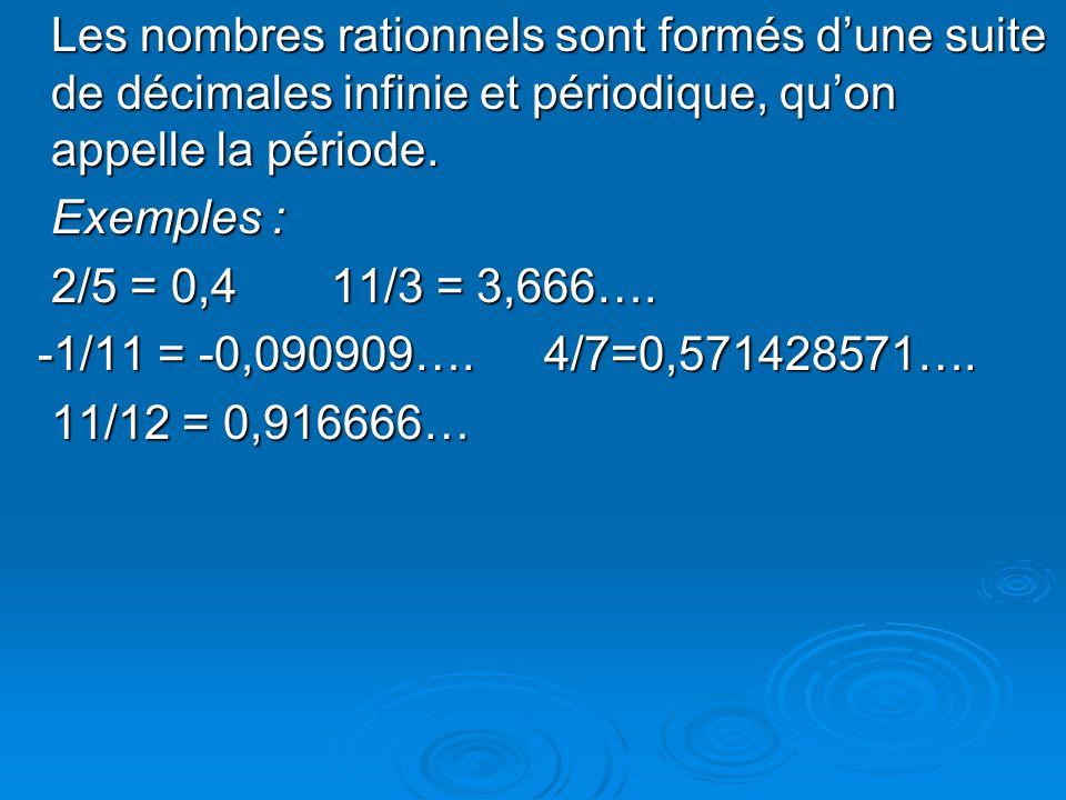 4) Ensemble des nombres irrationnels noté : Les nombres irrationnels sont formés dune suite de décimales infinie et non périodique.