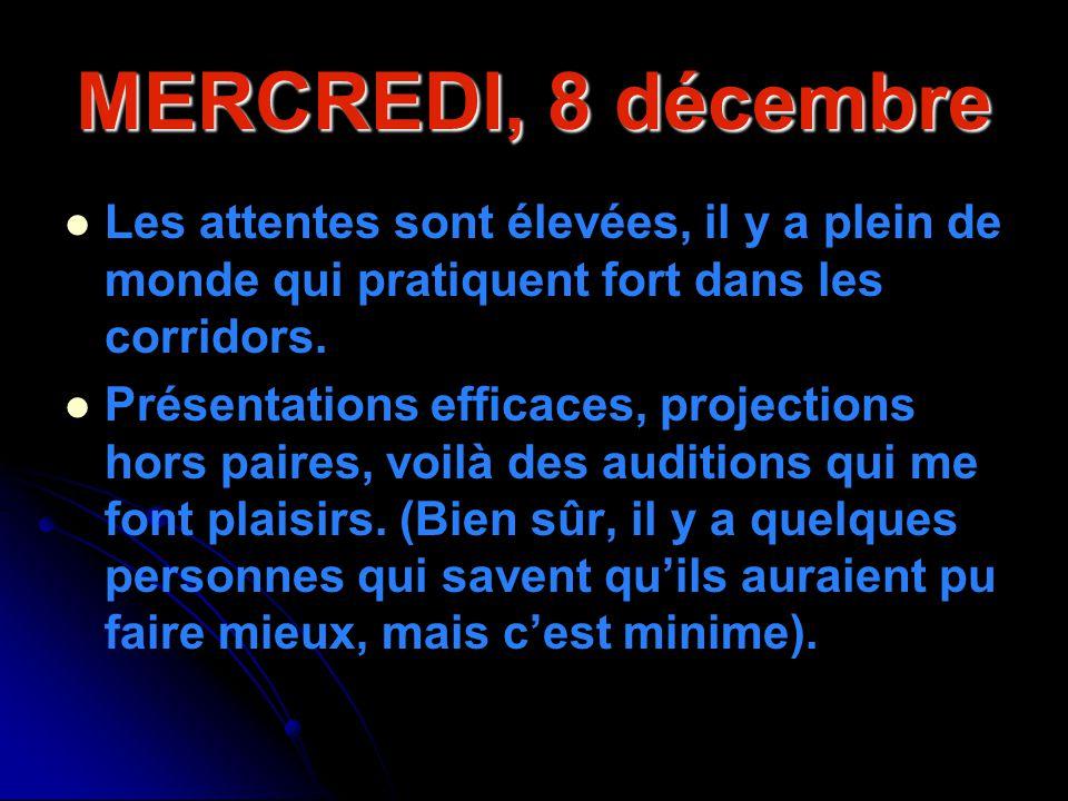 MERCREDI, 8 décembre Les attentes sont élevées, il y a plein de monde qui pratiquent fort dans les corridors. Présentations efficaces, projections hor