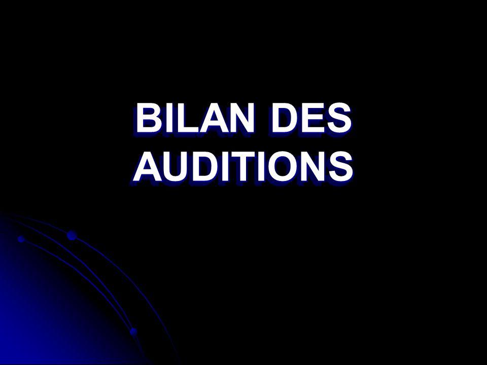 BILAN DES AUDITIONS