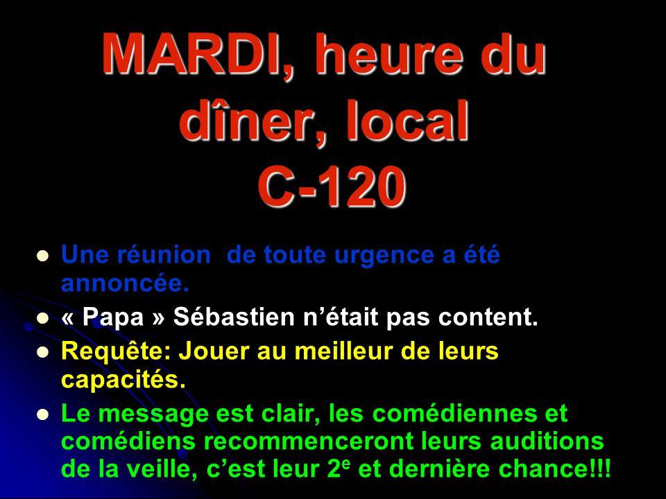 MARDI, heure du dîner, local C-120 Une réunion de toute urgence a été annoncée. « Papa » Sébastien nétait pas content. Requête: Jouer au meilleur de l
