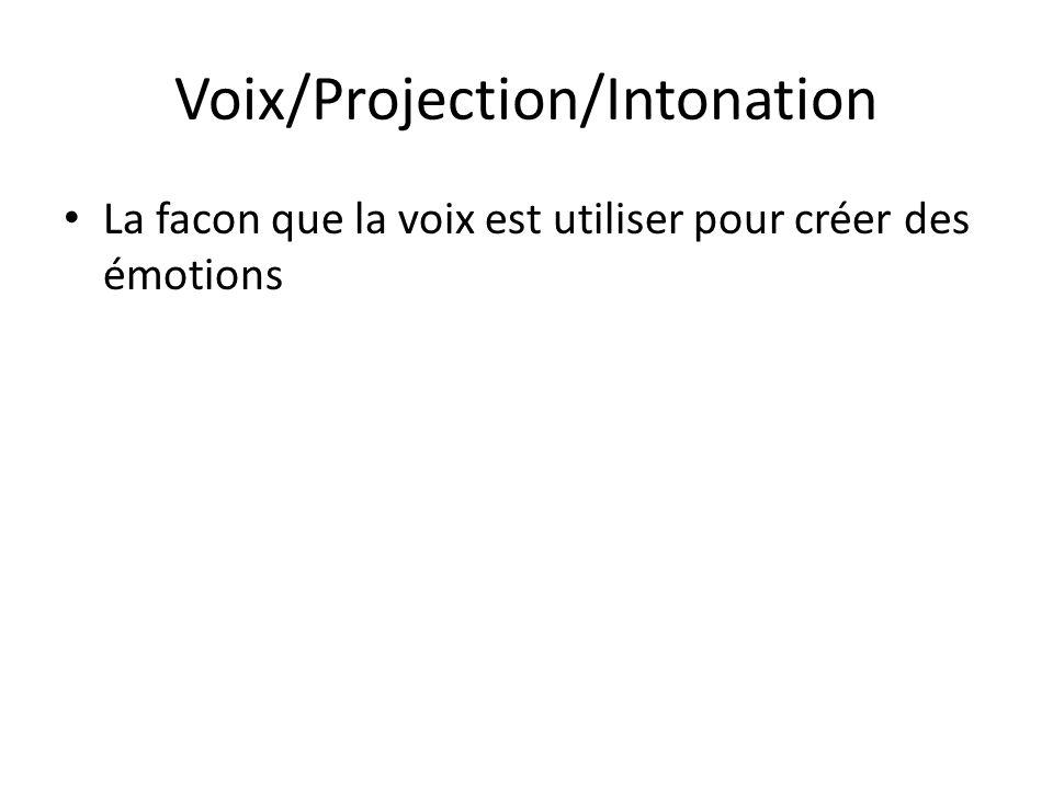 Voix/Projection/Intonation La facon que la voix est utiliser pour créer des émotions