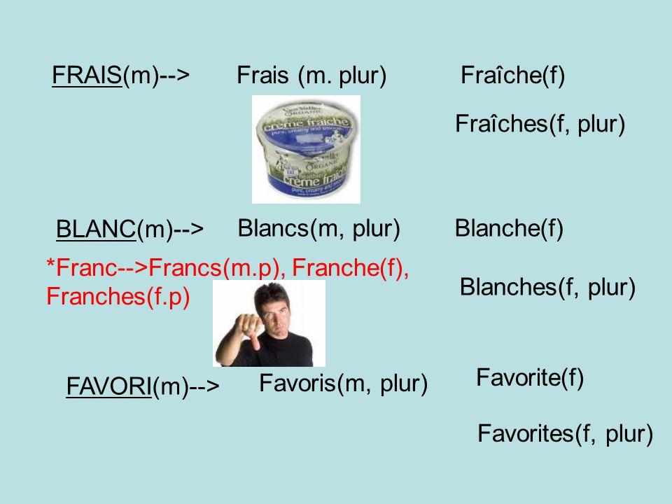 DOUX(m)--> Doux(m, plur) Douce(f) Douces(f, plur) FOU(m)--> Fous(m, plur) Folle(f) Folles(f, plur) GENTIL(m)--> Gentils(m, plur) Gentille(f) Gentilles(f, plur) JALOUX(m)--> Jaloux(m, plur) Jalouse(f) Jalouses(f, plur)