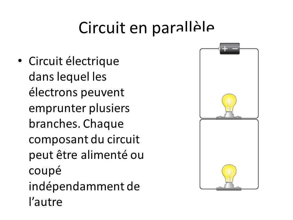 Circuit en parallèle Circuit électrique dans lequel les électrons peuvent emprunter plusiers branches. Chaque composant du circuit peut être alimenté