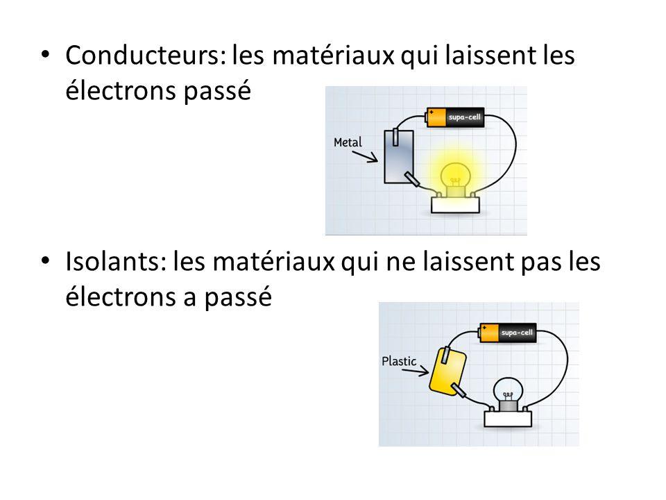 Conducteurs: les matériaux qui laissent les électrons passé Isolants: les matériaux qui ne laissent pas les électrons a passé