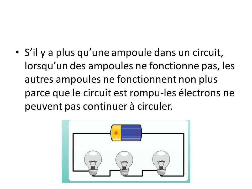 Sil y a plus quune ampoule dans un circuit, lorsquun des ampoules ne fonctionne pas, les autres ampoules ne fonctionnent non plus parce que le circuit