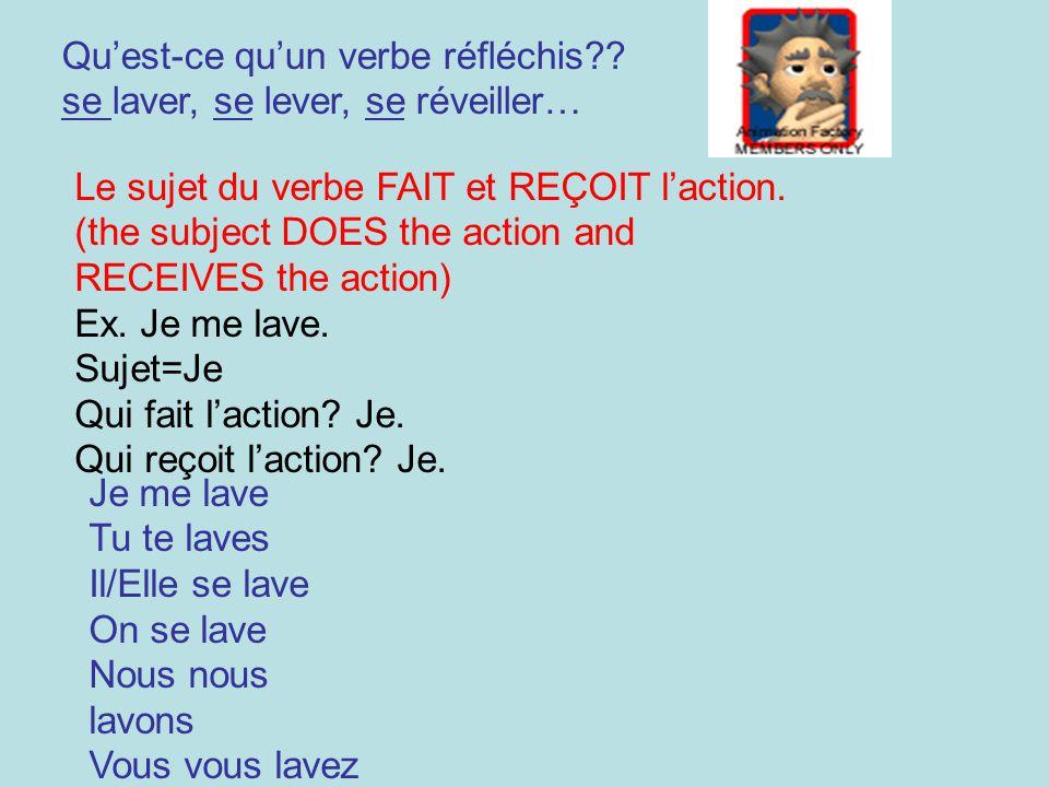 Quest-ce quun verbe réfléchis?? se laver, se lever, se réveiller… Le sujet du verbe FAIT et REÇOIT laction. (the subject DOES the action and RECEIVES