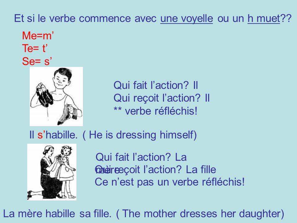 Et si le verbe commence avec une voyelle ou un h muet?? Me=m Te= t Se= s Il shabille. ( He is dressing himself) Qui fait laction? Il Qui reçoit lactio