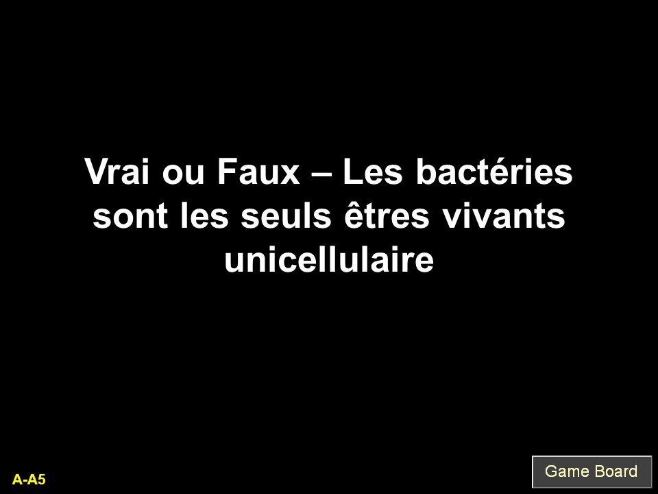 A-A5 Vrai ou Faux – Les bactéries sont les seuls êtres vivants unicellulaire