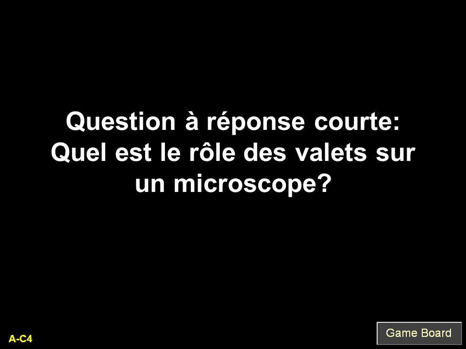A-C4 Question à réponse courte: Quel est le rôle des valets sur un microscope?