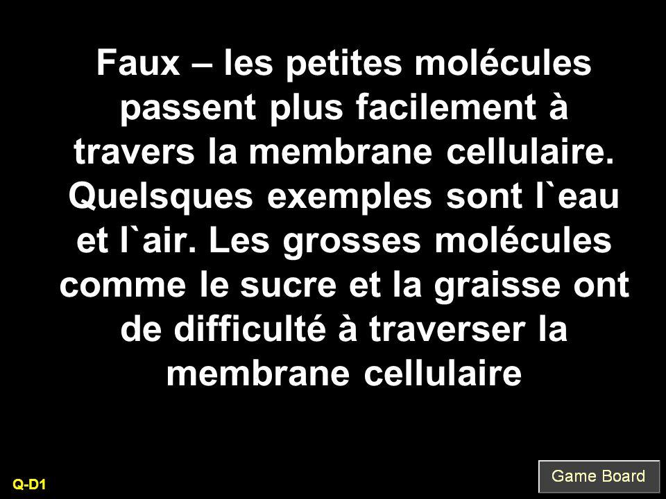 Faux – les petites molécules passent plus facilement à travers la membrane cellulaire. Quelsques exemples sont l`eau et l`air. Les grosses molécules c