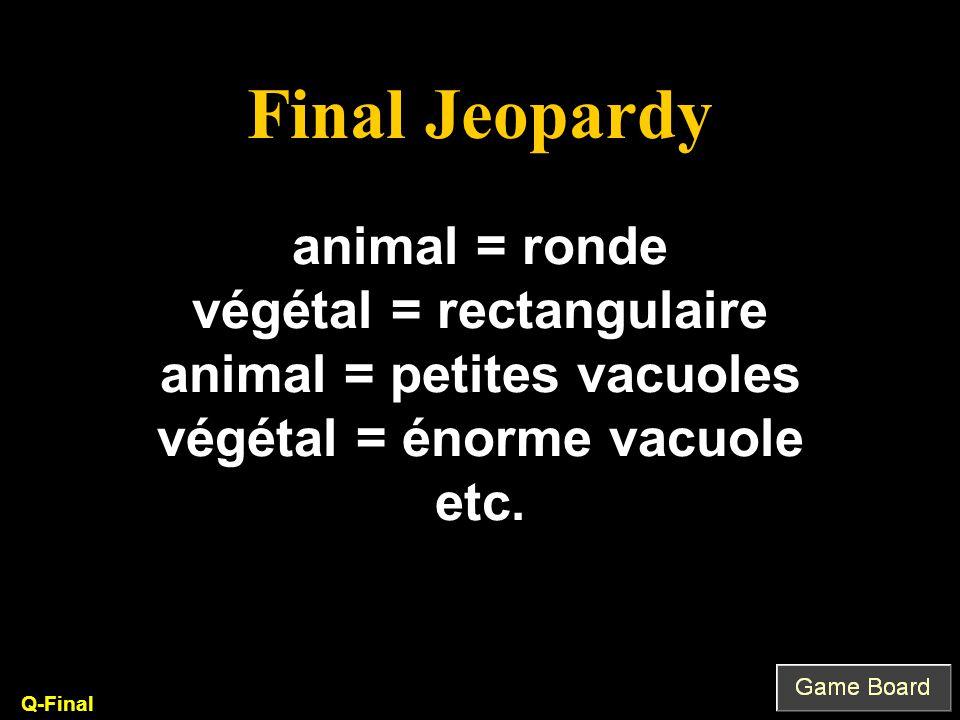 animal = ronde végétal = rectangulaire animal = petites vacuoles végétal = énorme vacuole etc. Q-Final Final Jeopardy