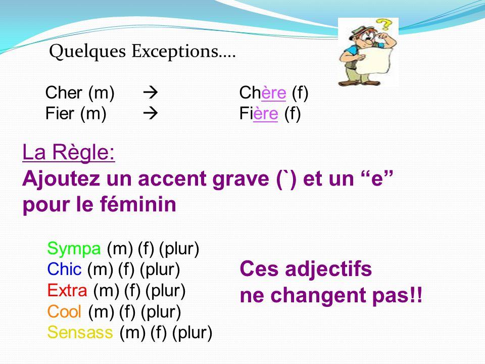Quelques Exceptions…. Cher (m) Chère (f) Fier (m) Fière (f) La Règle: Ajoutez un accent grave (`) et un e pour le féminin Sympa (m) (f) (plur) Chic (m