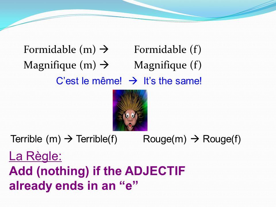 Formidable (m) Formidable (f) Magnifique (m) Magnifique (f) Cest le même! Its the same! Terrible (m) Terrible(f) Rouge(m) Rouge(f) La Règle: Add (noth