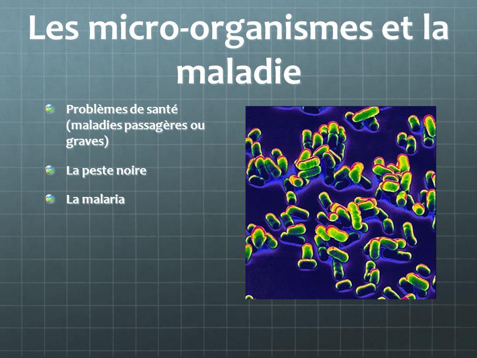 Les micro-organismes et la maladie Problèmes de santé (maladies passagères ou graves) La peste noire La malaria
