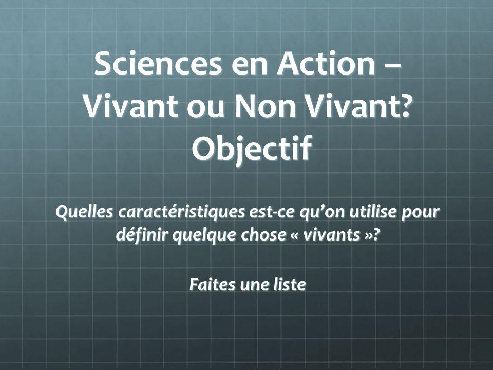 Sciences en Action – Vivant ou Non Vivant? Objectif Quelles caractéristiques est-ce quon utilise pour définir quelque chose « vivants »? Faites une li