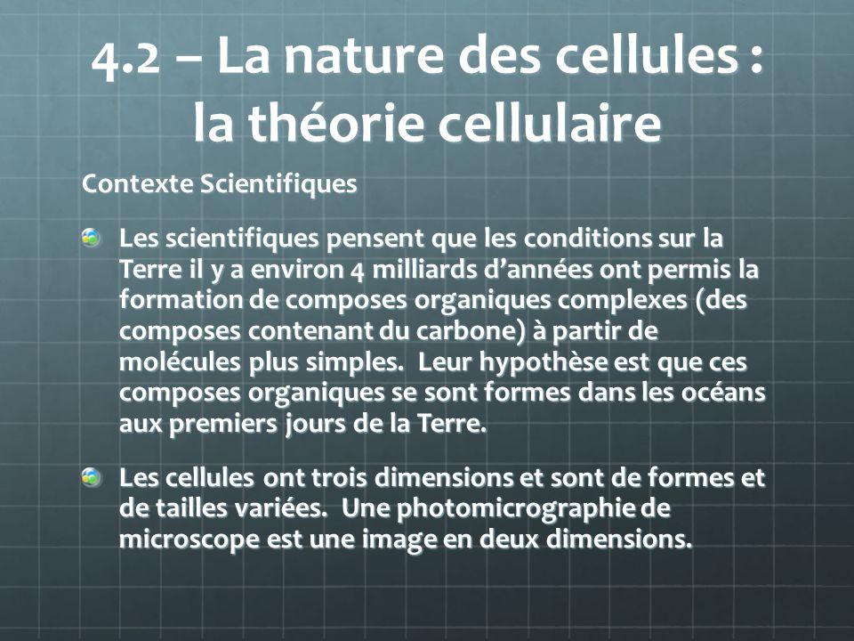 4.2 – La nature des cellules : la théorie cellulaire Contexte Scientifiques Les scientifiques pensent que les conditions sur la Terre il y a environ 4