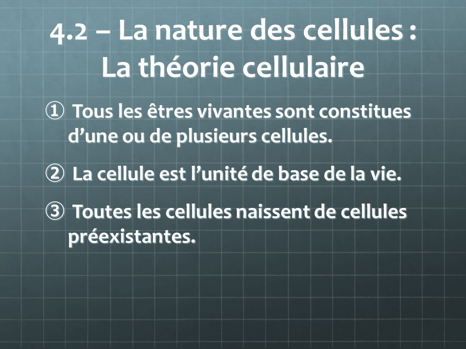 4.2 – La nature des cellules : La théorie cellulaire Tous les êtres vivantes sont constitues dune ou de plusieurs cellules. Tous les êtres vivantes so