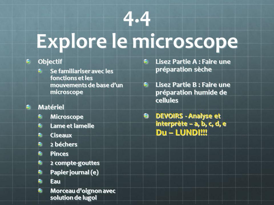4.4 Explore le microscope Objectif Se familiariser avec les fonctions et les mouvements de base dun microscope MatérielMicroscope Lame et lamelle Cise