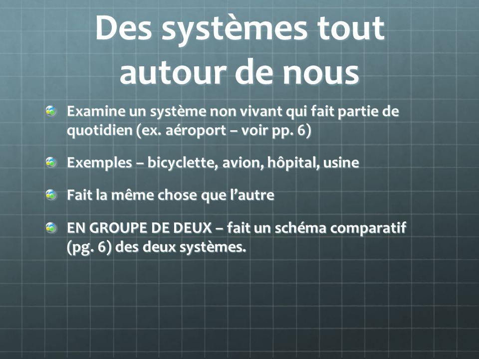 Des systèmes tout autour de nous Examine un système non vivant qui fait partie de quotidien (ex. aéroport – voir pp. 6) Exemples – bicyclette, avion,