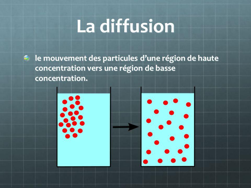 La diffusion le mouvement des particules dune région de haute concentration vers une région de basse concentration.