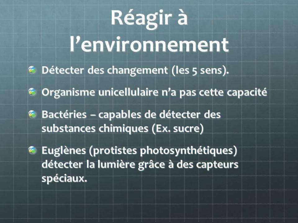 Réagir à lenvironnement Détecter des changement (les 5 sens). Organisme unicellulaire na pas cette capacité Bactéries – capables de détecter des subst