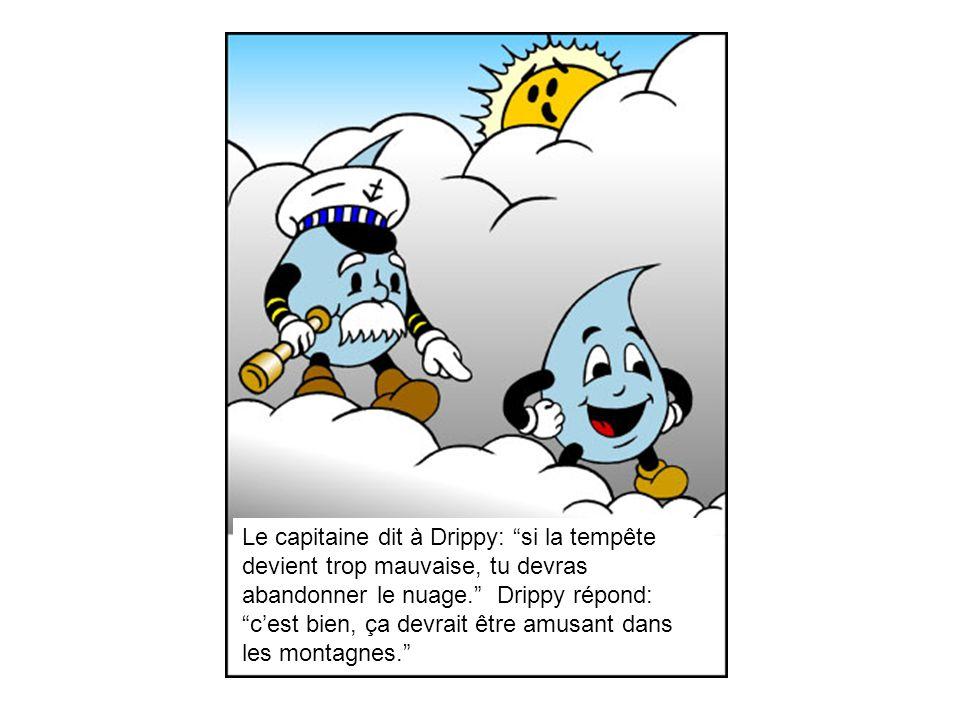 Le capitaine dit à Drippy: si la tempête devient trop mauvaise, tu devras abandonner le nuage.