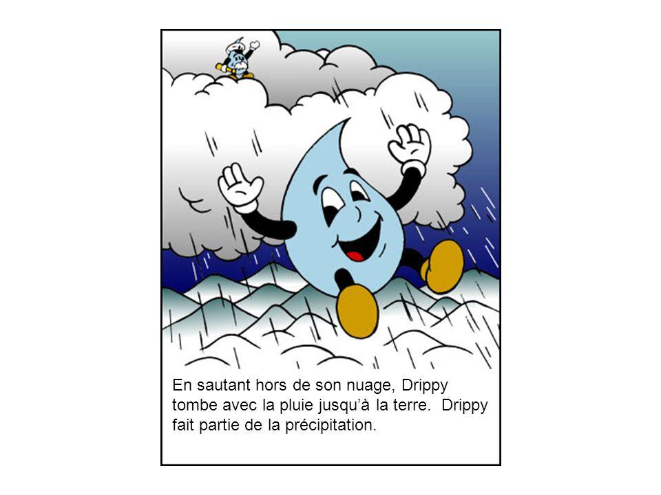 En sautant hors de son nuage, Drippy tombe avec la pluie jusquà la terre.