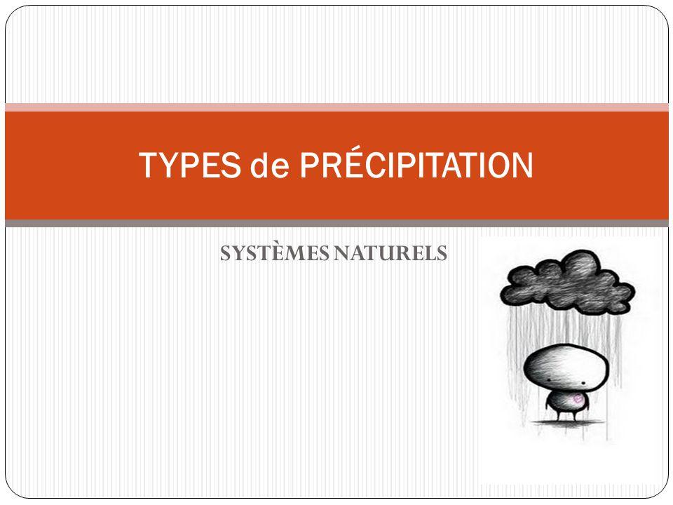 SYSTÈMES NATURELS TYPES de PRÉCIPITATION