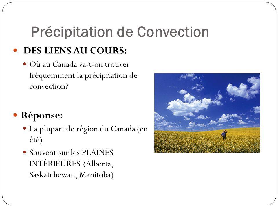 Précipitation de Convection DES LIENS AU COURS: Où au Canada va-t-on trouver fréquemment la précipitation de convection? Réponse: La plupart de région