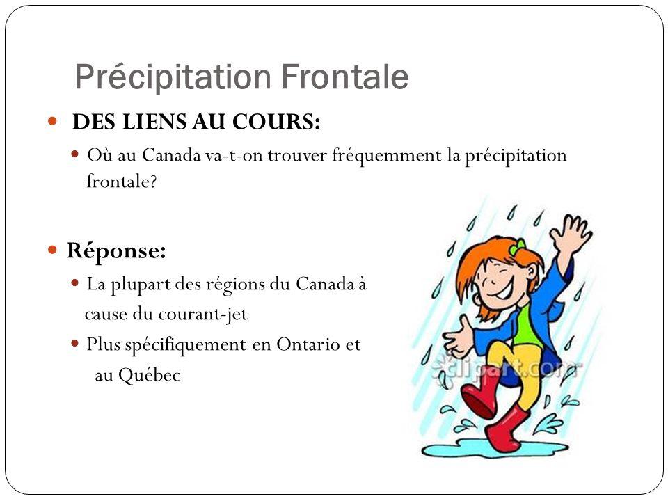 Précipitation Frontale DES LIENS AU COURS: Où au Canada va-t-on trouver fréquemment la précipitation frontale? Réponse: La plupart des régions du Cana