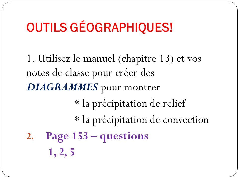 OUTILS GÉOGRAPHIQUES! 1. Utilisez le manuel (chapitre 13) et vos notes de classe pour créer des DIAGRAMMES pour montrer * la précipitation de relief *