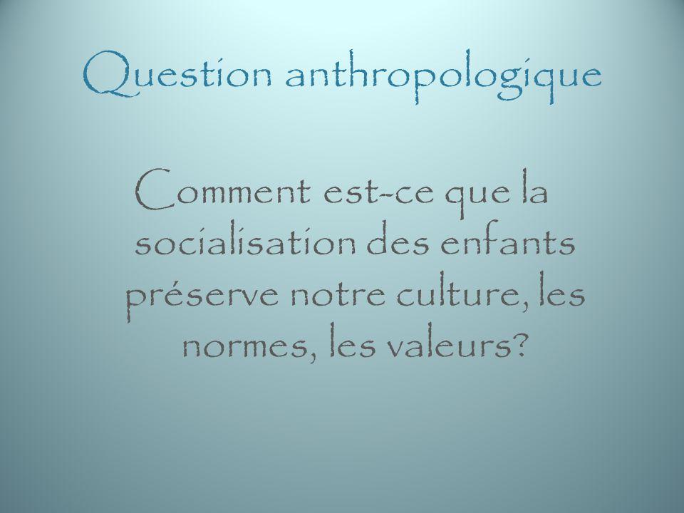 Question anthropologique Comment est-ce que la socialisation des enfants préserve notre culture, les normes, les valeurs?