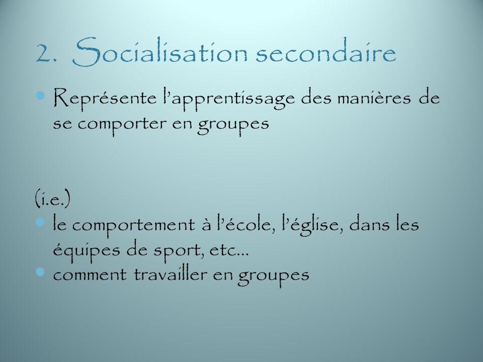 2. Socialisation secondaire Représente lapprentissage des manières de se comporter en groupes (i.e.) le comportement à lécole, léglise, dans les équip