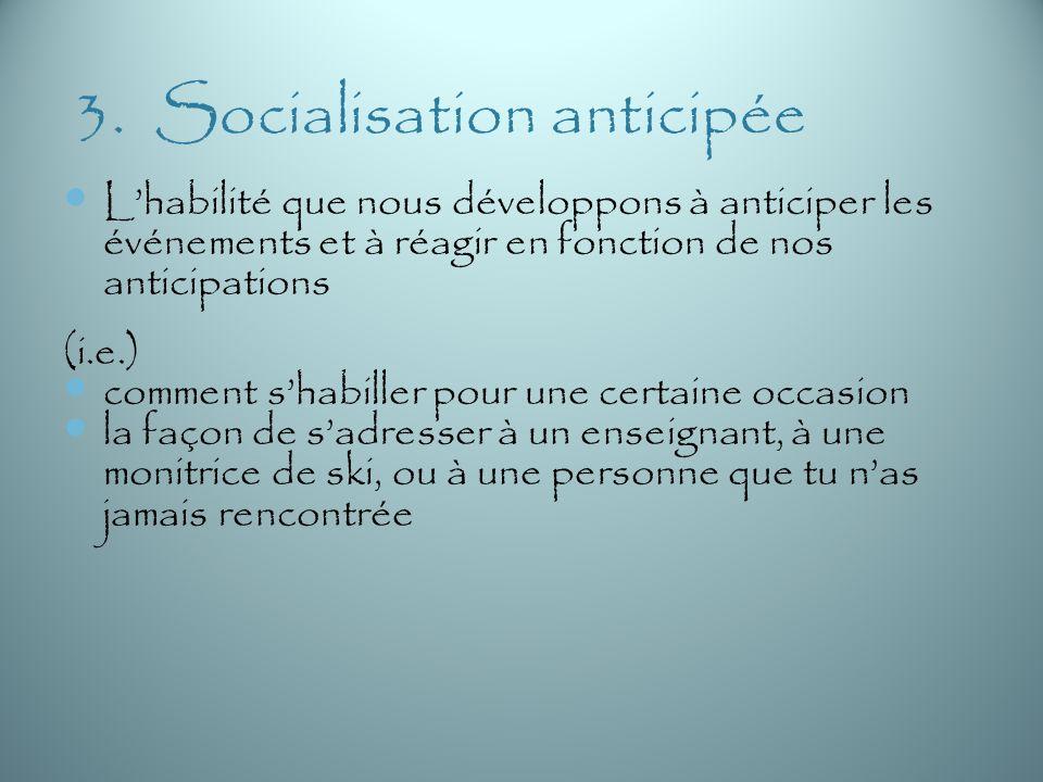 3. Socialisation anticipée Lhabilité que nous développons à anticiper les événements et à réagir en fonction de nos anticipations (i.e.) comment shabi