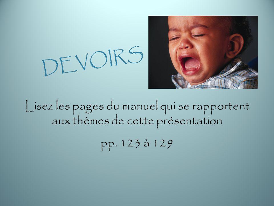 DEVOIRS Lisez les pages du manuel qui se rapportent aux thèmes de cette présentation pp. 123 à 129