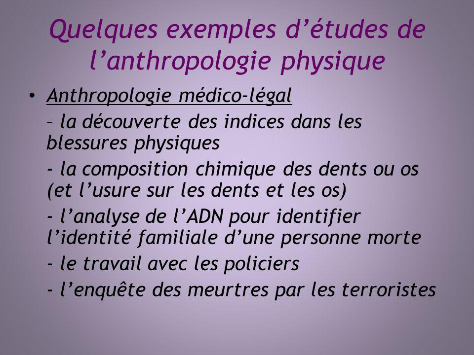 Quelques exemples détudes de lanthropologie physique Anthropologie médico-légal – la découverte des indices dans les blessures physiques - la composit