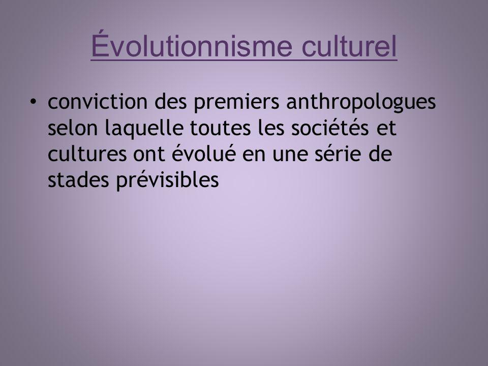 Évolutionnisme culturel conviction des premiers anthropologues selon laquelle toutes les sociétés et cultures ont évolué en une série de stades prévis