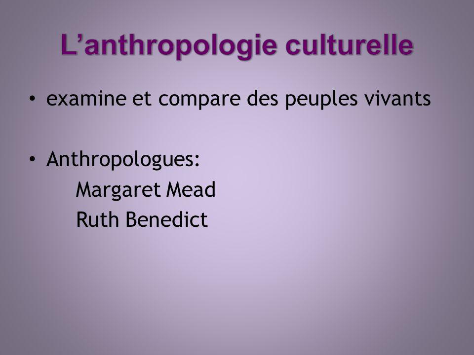 examine et compare des peuples vivants Anthropologues: Margaret Mead Ruth Benedict