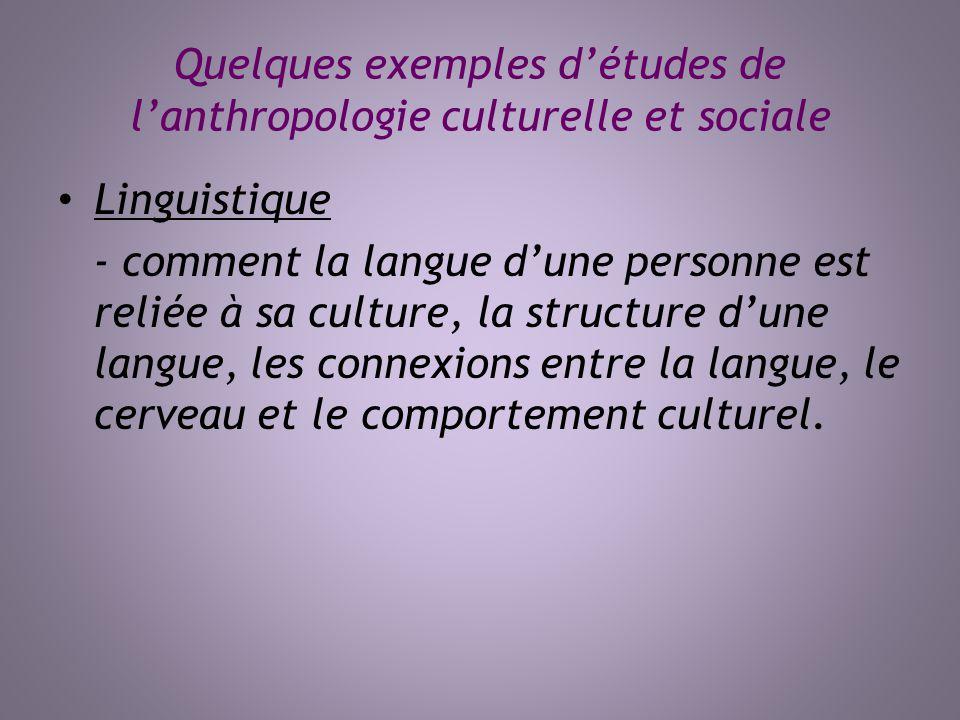 Quelques exemples détudes de lanthropologie culturelle et sociale Linguistique - comment la langue dune personne est reliée à sa culture, la structure