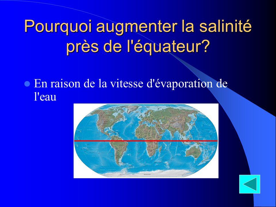 Pourquoi augmenter la salinité près de l'équateur? En raison de la vitesse d'évaporation de l'eau