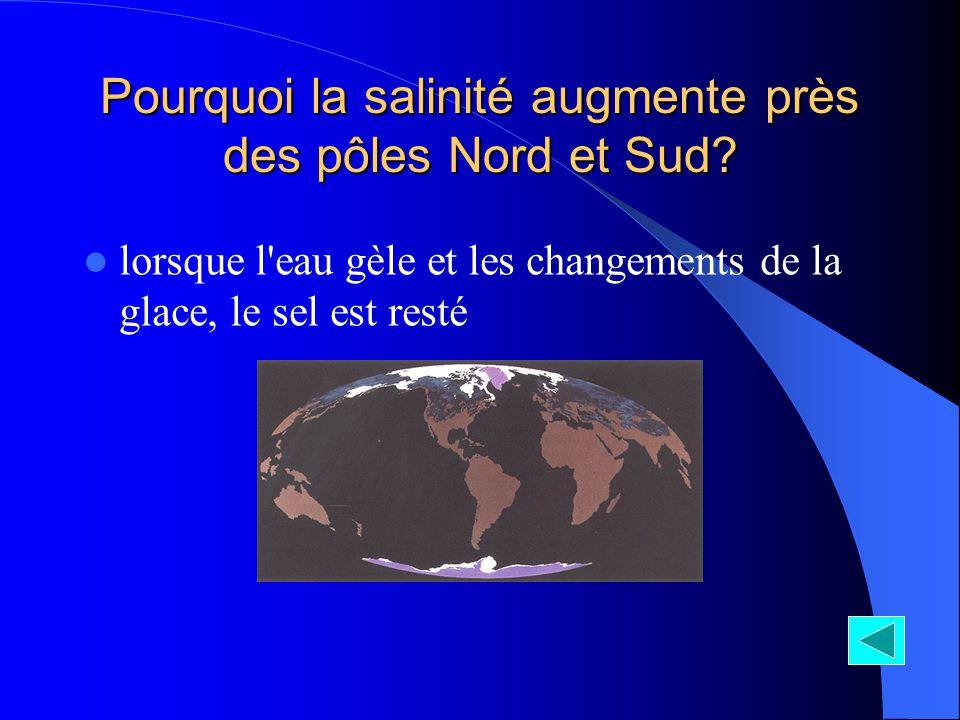 Pourquoi la salinité augmente près des pôles Nord et Sud? lorsque l'eau gèle et les changements de la glace, le sel est resté