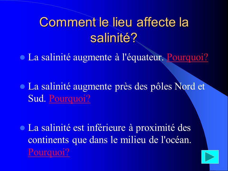 Comment le lieu affecte la salinité? La salinité augmente à l'équateur. Pourquoi?Pourquoi? La salinité augmente près des pôles Nord et Sud. Pourquoi?P