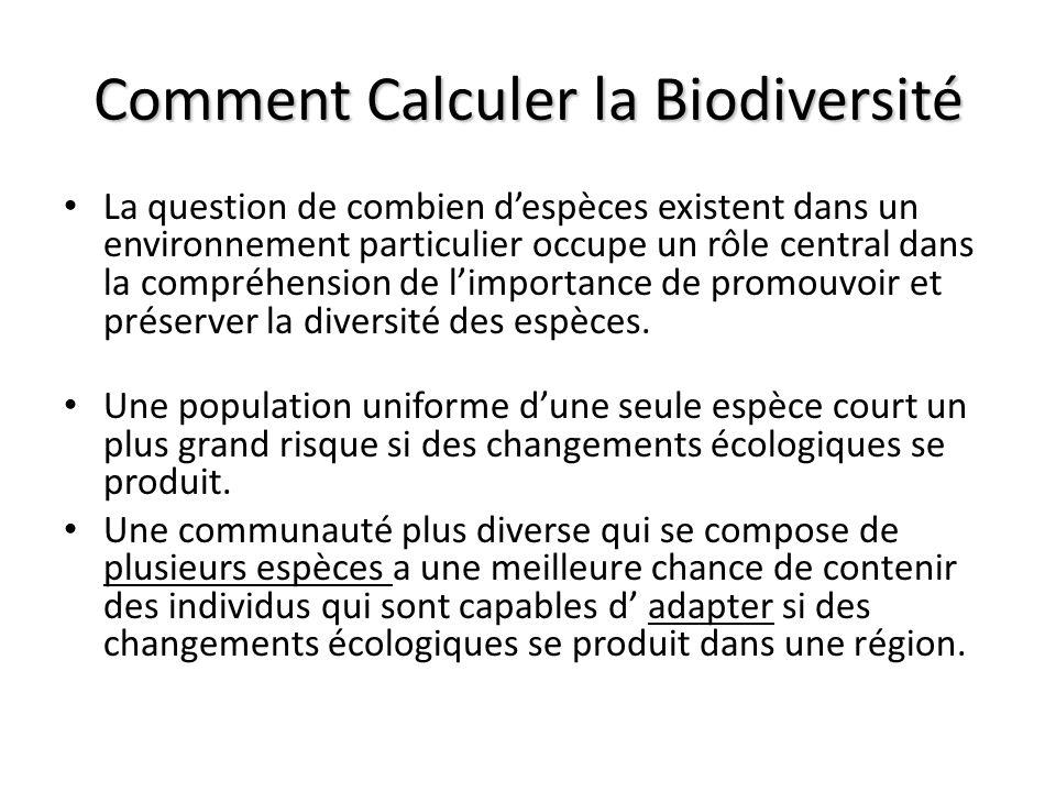 La question de combien despèces existent dans un environnement particulier occupe un rôle central dans la compréhension de limportance de promouvoir et préserver la diversité des espèces.
