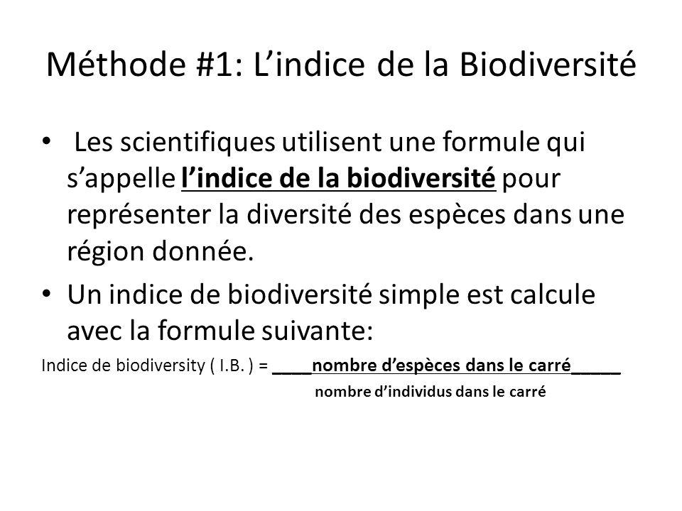 Méthode #1: Lindice de la Biodiversité Les scientifiques utilisent une formule qui sappelle lindice de la biodiversité pour représenter la diversité des espèces dans une région donnée.