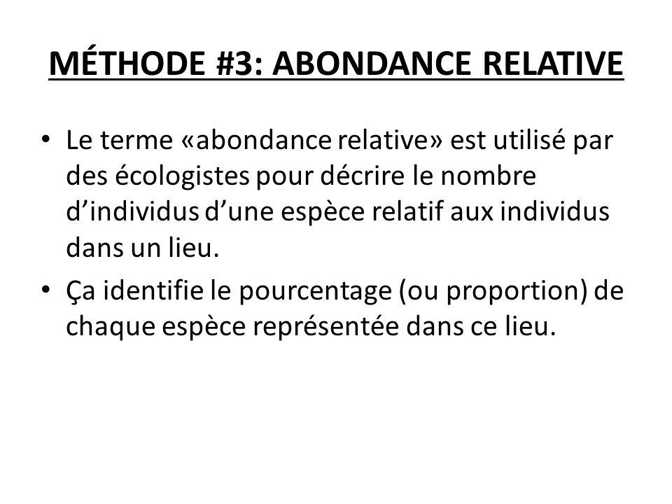 MÉTHODE #3: ABONDANCE RELATIVE Le terme «abondance relative» est utilisé par des écologistes pour décrire le nombre dindividus dune espèce relatif aux individus dans un lieu.